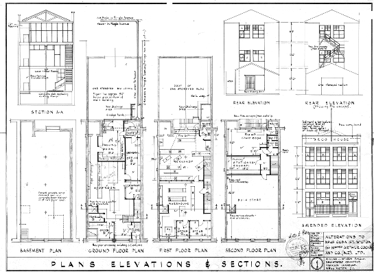 Alterations showing the elevations and sections, 1954. (WCC Archives reference 00056:477:B35964)