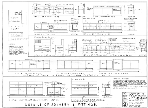 Alterations showing details of the joinery and fittings, 1954. (WCC Archives reference 00056:477:B35964)