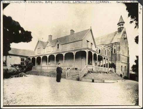 St Gerard's Church and Monastery, Oriental Bay, Wellington, and Father Clunie. Oakes, Francis Joseph: Scenes at St Gerard's Church and Monastery, Hawker Street, Oriental Bay, Wellington. Ref: PAColl-6477-01. Alexander Turnbull Library, Wellington, New Zealand. http://natlib.govt.nz/records/22735909