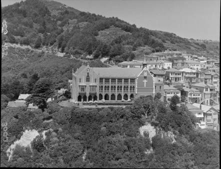 St Gerard's Monastery, Mount Victoria, Wellington. Negatives of the Evening Post newspaper. Ref: EP/1955/3002-F. Alexander Turnbull Library, Wellington, New Zealand. http://natlib.govt.nz/records/22339310