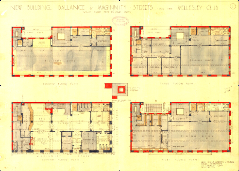 1925 proposed ground, first, second and third floor plans. Image: Gray Young Morton and Young (WCC Archives ref 00055_49_A4611-plan.)