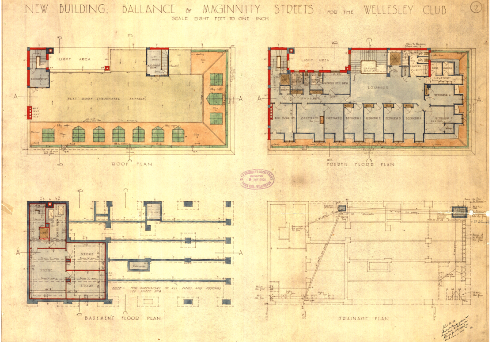 1925 proposed basement, drainage, fourth floor and roof plans of the Wellesley Club. Image: Gray Young Morton and Young (WCC Archives ref 00055_49_A4611-plan.)