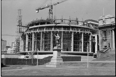 The Beehive under construction, Wellington. Negatives of the Evening Post newspaper. Ref: 1/4-022262-F. Alexander Turnbull Library, Wellington, New Zealand