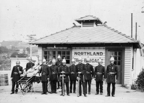 c.1890s -  Northland Fire Brigade, Wellington. Knight, J A :Photographs of 5 Farm Road, Northland, and the Northland Fire Station. Ref: 1/2-146493-F. Alexander Turnbull Library, Wellington, New Zealand. http://natlib.govt.nz/records/22319337