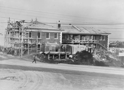 c.1931 - Creator unknown: Photograph of a fire station under construction, Northland, Wellington. Ref: 1/2-050346-F. Alexander Turnbull Library, Wellington, New Zealand. http://natlib.govt.nz/records/23109272