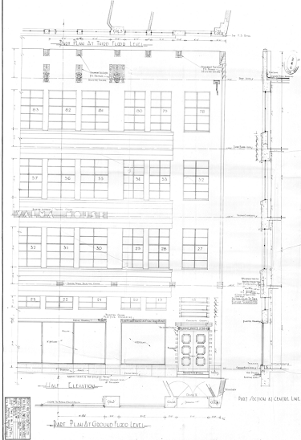 Valma Building, part elevation, section and ground floor plan as proposed. WCC Archive File 00056:185:B16151