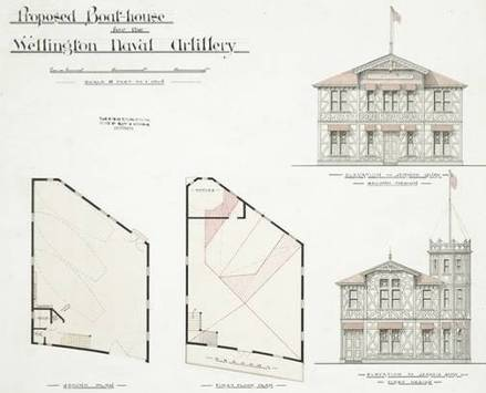 Clere, Frederick de Jersey, 1856-1952. Clere, Frederick de Jersey, 1856-1952 :Proposed boat-house for the Wellington Naval Artillery, 1894 / Clere, Fitzgerald & Richmond.. Ref: Plans-80-1230. Alexander Turnbull Library, Wellington, New Zealand. http://natlib.govt.nz/records/22860435